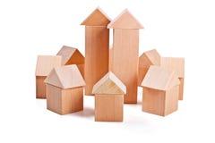 Toy Houses van Houten Blokken wordt gemaakt dat Royalty-vrije Stock Foto