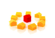 Toy houses on a white background Royalty Free Stock Photo