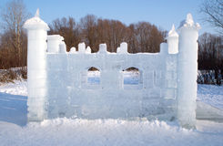 Toy ice castle in winter forest Royalty Free Stock Photo