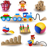 Toy Icons. Vector illustration of nine colored Christmas icons - toys Stock Images