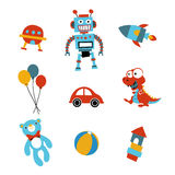 Toy icons. Funny toy icons in primary color Stock Images