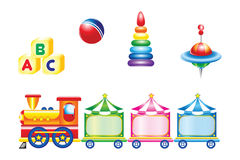 Toy icons. Children's toys isolated on white background Royalty Free Stock Photography