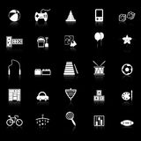 Toy icons with reflect on black background Stock Photo