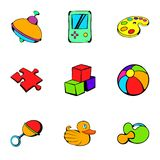 Toy icons set, cartoon style. Toy icons set. Cartoon illustration of 9 toy vector icons for web Stock Images