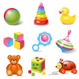Toy icons. Set of 9 cartoon toys Royalty Free Stock Images