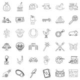 Toy icons set, outline style. Toy icons set. Outline style of 36 toy vector icons for web isolated on white background Royalty Free Stock Images