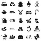 Toy icons set, simple style. Toy icons set. Simple set of 25 toy vector icons for web isolated on white background Stock Photography