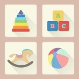 Toy Icons Vlak Ontwerp Royalty-vrije Stock Afbeeldingen