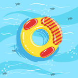 Toy Inflatable Ring With Blue Sea Water On Background. Beach Vacation Related Illustration Drawn From Above In Simple Vector Cartoon Style Royalty Free Stock Photography