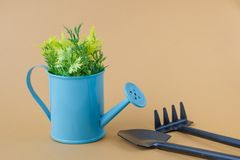 Toy watering can purple blue with yellow-green sprigs, rakes and shovel on a grey brown background. Place for text. Agriculture royalty free stock photos