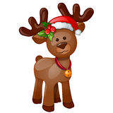 Toy isolated reindeer with Christmas hat Royalty Free Stock Photography