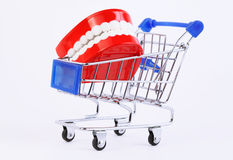 Toy jaw in purchasing cart Royalty Free Stock Images