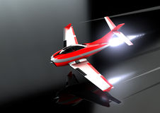 Toy Jet on the deck. A toy jet flying low over a reflective surface Stock Photography