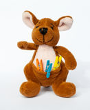 The toy kangaroo. Kangaroo plush toy with small clothes peg in his pocket Royalty Free Stock Image