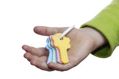 Toy keys in a children's hand. Stock Photography