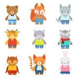 Toy Kids Animals In Clothes Arkivfoto