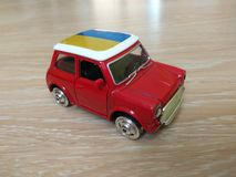 Toy red yellow blue metal car model Stock Photo
