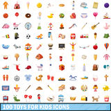 100 toy for kids icons set, cartoon style. 100 toy for kids icons set in cartoon style for any design vector illustration Stock Images