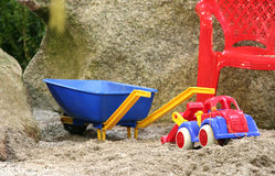 Toy on the kids sand Stock Images