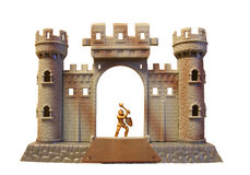 Toy knight castle. Front side of toy knight castle Stock Photos