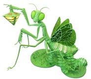 Toy lamp, female mantis close up isolated on white background stock images