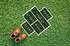 Toy leather shoe on grass field texture background life concept. Royalty Free Stock Photo
