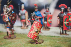 Toy legionary on display at Militalia in Milan, Italy Royalty Free Stock Photos