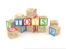 Toy letter cubes. Letter cubes that spell toys Stock Image