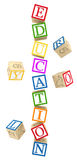 Toy letter cubes Royalty Free Stock Images