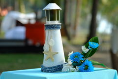 Toy lighthouse and decorate stock images