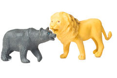 Toy lion and toy of black bear Royalty Free Stock Photography