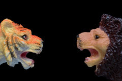 Toy Lion Versus Toy Tiger Royalty Free Stock Image