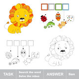 Toy lion. What is the word hidden. Task and answer. Page to be colored. Kid task for children.  Fill letters and solve the hidden word. A word game. Fill in Stock Image