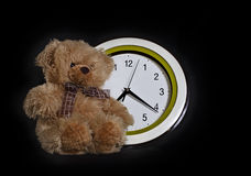 Toy - a little bear and clock Stock Photo