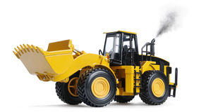 Toy loader excavator. On white background with exhaust Stock Image