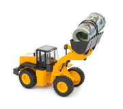 Toy loader and money Stock Photo