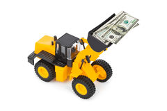 Toy loader and money Stock Image