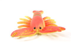 Toy Lobster facing you. On a white background Royalty Free Stock Images