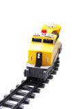 Toy locomotive. Isolated over white background Royalty Free Stock Images