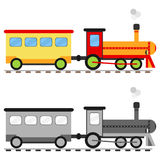 Toy locomotive with a car. stock illustration