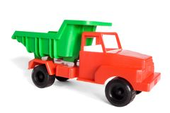 Toy lorry. Isolated on white royalty free stock images