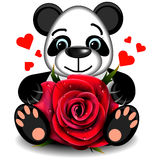 Toy love Panda with realistic red rose Stock Photography