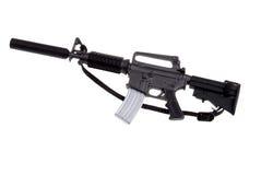 Toy m-16 machine gun. Plastic toy m-16 machine gun isolated over white Stock Image