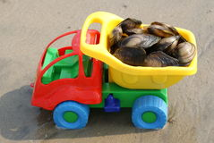 The toy machine transports seafood. On wet sand Royalty Free Stock Photos