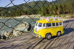 Toy machine in travel,peace sign stock image