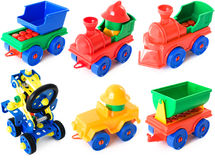 Toy machines on white. Toy machines isolated on the white background Royalty Free Stock Image