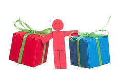 Toy man with presents Stock Photo