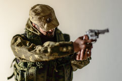 Toy man soldier action figure miniature realistic silk Royalty Free Stock Photography