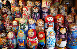 Toy and Matrioska. Toys. Matrioska on sale in a christmas street market Royalty Free Stock Images