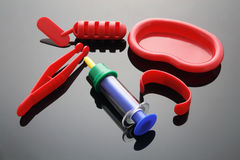 Toy Medical Instruments. With Reflections Royalty Free Stock Images